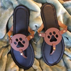 Shoes - Flip Flop Sandals with Paw Prints